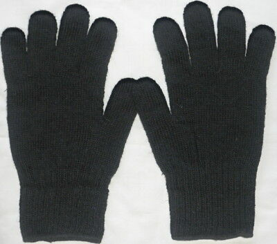 US Military Cold Weather Black Glove Liners -New - Size 5 L - 70% Wool 30% Nylon