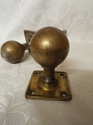 Pair of Vintage Door Knobs Handles with Plates Architectural Salvage Steel Brass