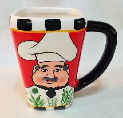 Hand Painted CHEF Coffee Mug Cup Crazy Mountain Glossy Red Black Graphic PRETTY