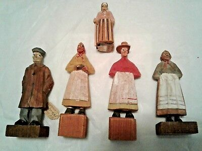 5 Vintage wooden carvings-Canada