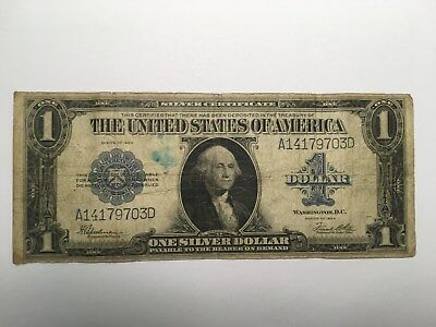 1923 $1 Bill Circulated George Washington One Dollar Silver Certificate Note