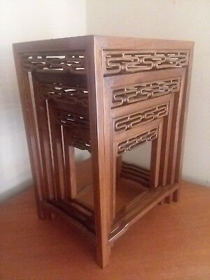 Vintage MCM Set of 4 Chinese Carved ROSEWOOD Nesting Tables