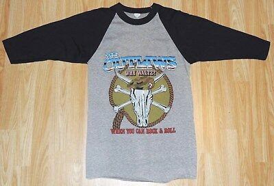 """The Outlaws 1983 Tour """"When Guitars Are Outlawed"""" 2/3 Sleeve T-Shirt Size M MINT"""