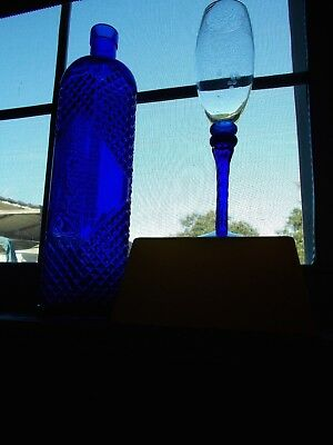 Rare Glass  Bottle Blue 12Inch Tall Decorative Collectible W/ Matching Wine Cup