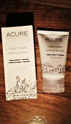 NEW Acure Night Cream 1.75 oz/50 ml Argan Extract + Chlorella FREE SHIPPING