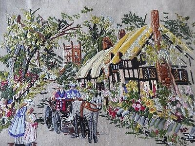 Vintage Hand Embroidered Picture -  Victorian Country Scene With Lots Of Detail