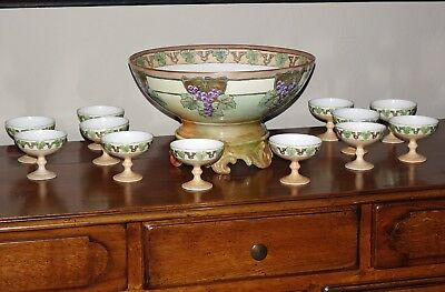 hand painted punch bowl and 12 cups