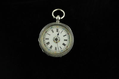Antique 1886 Hallmarked Chester SILVER Cased Key Wind Fob Watch WORKING -58g