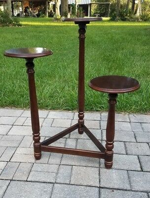 Vintage Mahogany pedestal plant stand display 3 tier neo-classical Powell
