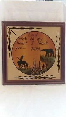 "Sand Painting Art Picture Framed Southwest Indian Bear 13.5"" x 13.5"""