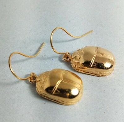 Jewelry Gold Plated Drop Dangle, Pair of SCARAB Earrings Ancient Egyptian art