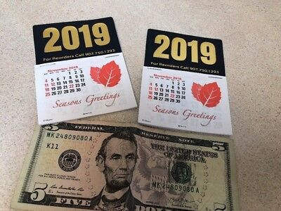 2019 lot of 2 Peel & Stick CALENDAR 3x4 in. free postage and no tax~early price