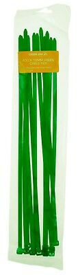 CABLE TIES WRAPS LARGE GREEN NYLON ZIP TIE 400mm x 7.6mm 12pc PACK GOOD QUALITY
