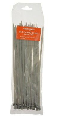 CABLE TIES, TIE WRAPS SILVER NYLON ZIP TIE 250mm x 4.8mm 45pc PACK GOOD QUALITY