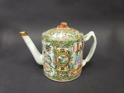 Antique Large Chinese Rose Medallion Teapot Unmarked