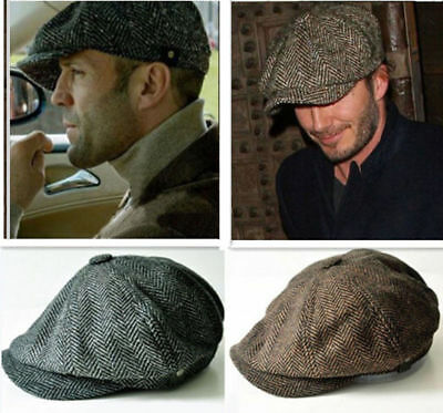 a93d6c6544e3 Mens Vintage Newsboy Ivy Cap Bunnet Beret Golf Wool Tweed Cabbie Gatsby  Flat Hat