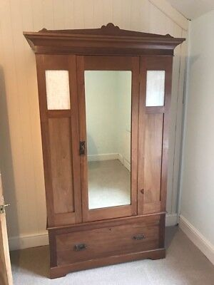Victorian Mahogany Wardrobe With Mirror and Drawer