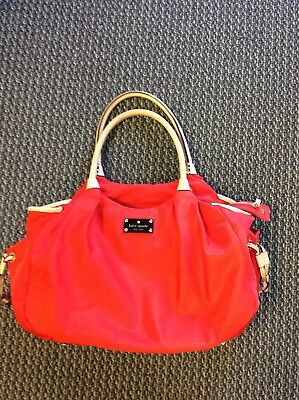 Authentic Kate Spade Classic Spade Stevie Baby Diaper Tote Bag Red Nylon