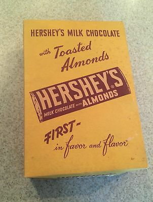 ANTIQUE OLD VINTAGE HERSHEYS MILK CHOCOLATE CANDY BAR BOX Almonds ADVERTISING