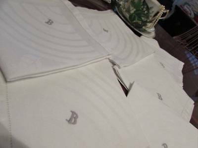 6 Vintage Napkins Damask Irish Linen MONOGRAM B