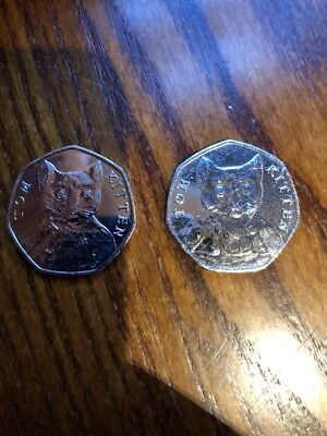 Two rare Beatrix Potter Tom Kitten 50p coin 2017 Mint Condition