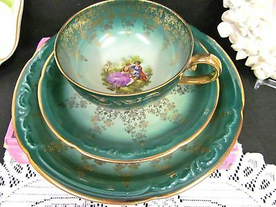 GERMAN tea cup and saucer TRIO love story courting couple teacup pattern green