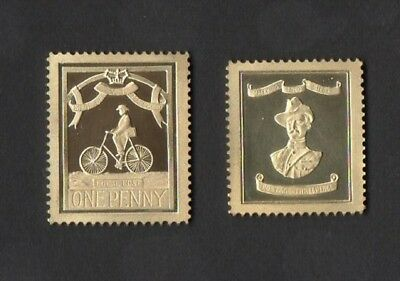 Set Replika Stamps in pure Gold+The Siege of Mafeking 22gr. 18 ct Gold