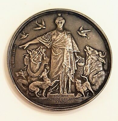 1901 Paris Society for the Protection of Animals Silver Medal, A. Doublemard Sc.