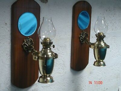 Vintage Pair of Brass Marine Paraffin Gimbal Lamps - Interior Lamps