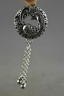 Collectable Chinese Style Miao Silver Goldfish Hollow out Amulet Pendant Gift