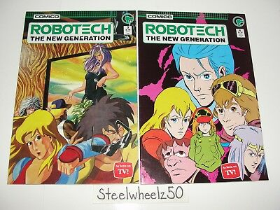 Robotech The New Generation #3 & 4 Comic Lot Comico 1985 Animated Series Herman