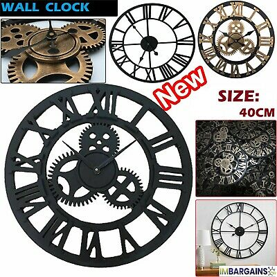 Extra Large Roman Numerals Skeleton Wall Clock Big Giant Open Face Round 40Cm Uk