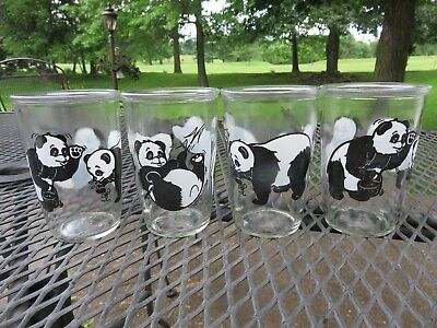 "Set of 4 Vintage Brockway Glass 4 5/8"" Panda Bear 12 oz Jar Tumblers EUC"