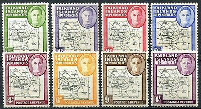 "Falklands Dependencies 1946, ""Thick"" Maps, SG G1 - G8, Mint Hinged"