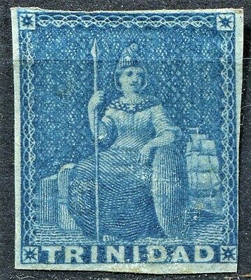 Trinidad 1851 issue, SG 3, 1d Blue on Blue Paper, Mint Hinged, good gum, CV £23