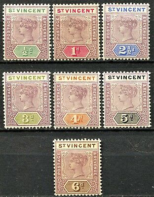 St Vincent 1899 short set, SG 67 - 73, Mint Hinged, CV £46