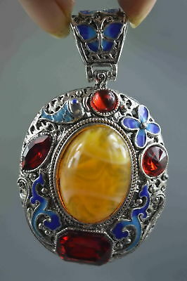 Collectable Chinese Style Miao Silver Amber Carve Flower Amulet Pendant Gift