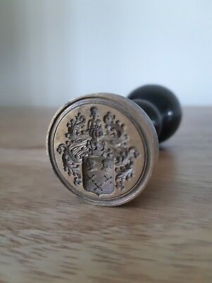 Rare German Antique Coat Of Arms Seal, Antique Brass Wax Seal, Family Crest