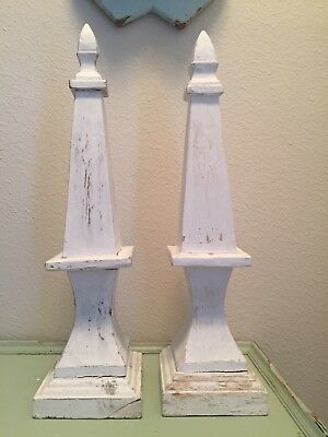 Pair Architectural Salvage Hand Carved White Wood Chippy Painted Obelisk