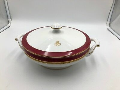 """Rare Okura Japanese OAC CPO Red & Heavy Gold encrusted 8x3"""" Serving Bowl W/Lid"""