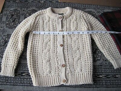 Vintage Childs Gaeltarra Hand Knit Cable Virgin wool sweater metric size 27