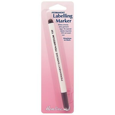 Hemline Haberdashery Permanent Black Labeling Marker For Labeling Garment Tags