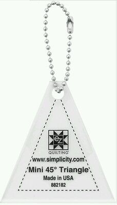 "45 DEGREE TRIANGLE MINI TEMPLATE KEYCHAIN 2.5"" QUILTING,sewing,bunting bnew"