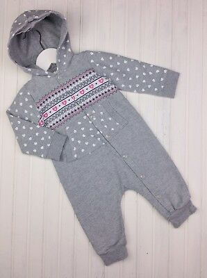 Girls Hooded Sweatshirt Style Love Heart Romper Outfit All In One 6-9 Months VGC