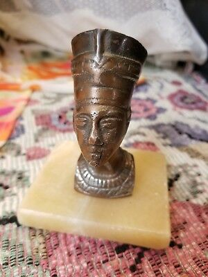 VINTAGE Egyptian Queen Nefertiti Onyx Marble Stone Base Brass Head statue decor