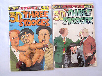 Lot Of 2 The Three Stooges 3D Comic Books # 1,2 With Glasses