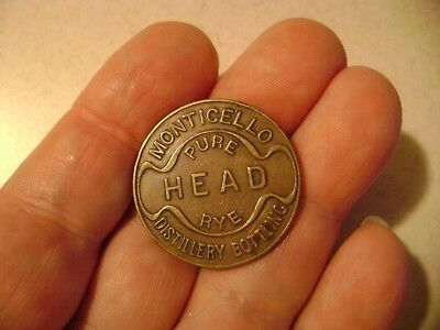 Monticello Rare Head Rye Distillery Bottling Any Other Tail Whiskey...medal Coin