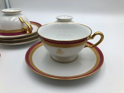 Okura Japanese OAC CPO Red & Heavy Gold encrusted Cup & Saucer