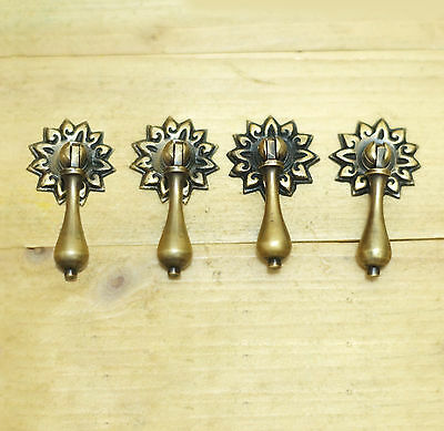Lot of 4 pcs Vintage Daisy Flowers Cudgel Pull Brass Antique Cabinet Knob Pulls