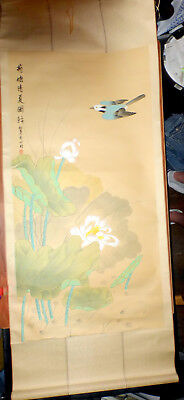 "Painting Of A ""lotus Pond In A Clear Summer"" Bird Red Stamp Seal Large 72""x28.5"""